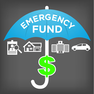 Financial Emergency Fund Icons with Umbrella